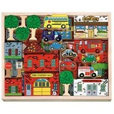 Town Blocks Set - Construct your own town scape and have endless hours of fun creating adventures and play scenes with this 53 piece brightly, colored, wooden toy .