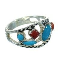 Genuine Sterling Silver Southwestern Coral Turquoise Jewelry Ring Size 8 AX82103