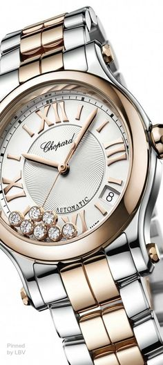 Rose and Silver bt Chopard Happy Sport Medium-Automatic-Two-Tone Dream Watches, Cool Watches, Watches For Men, Nixon Watches, Ring Armband, Swiss Luxury Watches, Beautiful Watches, Fashion Watches, Bracelet Watch