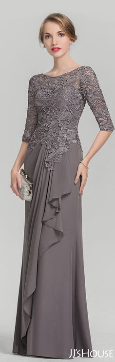 JJsHouse A-Line/Princess Scoop Neck Floor-Length Chiffon Lace Mother of the Bride Dress With Cascadi Dress Brukat, Kebaya Dress, Dress Pesta, Lace Dress, Party Dress, Kebaya Hijab, Kebaya Brokat, Kebaya Muslim, Chiffon Dress Long