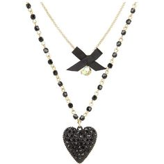 Betsey Johnson Iconic Glitter Heart Two-Row Necklace (Black) Necklace ($45) ❤ liked on Polyvore featuring jewelry, necklaces, accessories, colares, collares, chain collar necklace, pendant necklace, heart necklace, adjustable chain necklace and layered chain necklace