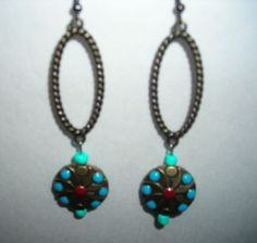 Handmade Hook Dangling Earrings with Turquoise and Red /lightweight/Great Gift #Handmade #DropDangle/$7.00
