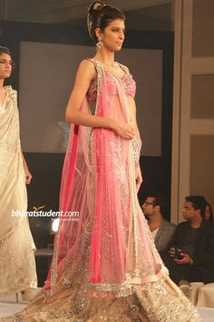 Pink and cream lengha