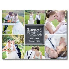Chalked Collage Wedding Thank You Card Post Cards Yes I Can Say Are On Right
