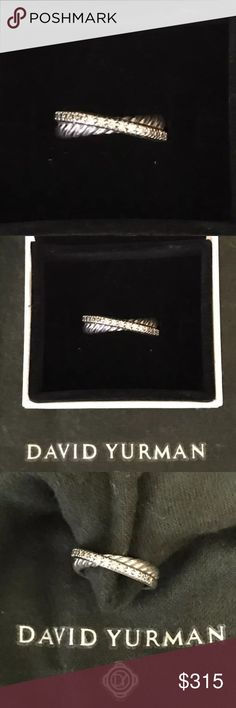 David Yurman Diamond Crossover Ring Authentic David Yurman pre owned diamond crossover ring in Sterling Silver. Gorgeous diamond David Yurman band. Has minimal signs of wear for a ring stored worn daily and carefully stored.  Size 5. David Yurman Jewelry Rings