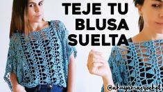 CÓMO TEJER BLUSA A CROCHET: teje una blusa suelta a crochet en punto cal...