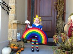 Rainbow costume with cloud wand (Malia will use crown idea and wand idea) Fancy Dress Costumes Kids, Sibling Halloween Costumes, Kids Dress Up, Cute Costumes, Holidays Halloween, Halloween Kids, Happy Halloween, Halloween Party, Halloween Decorations