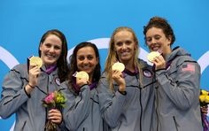 Gold medalists (L-R) Missy Franklin, Rebecca Soni, Dana Volmer, and Allison Schmitt of the United States pose on the podium during the medal ceremony for the Women's 4x100m medley Relay Final on Day 8 of the London 2012 Olympic Games at the Aquatics Centre on August 4, 2012 in London, England.