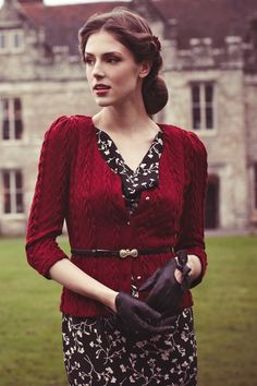 Bray British style fitted cardigan in port Love the slightly puffed sleeves, the chunkiness and length. Beautiful!