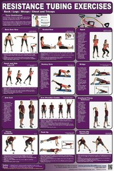 12 Resistance Tubing exercises for working the back, legs, biceps, chest and triceps.