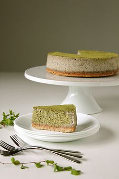 matcha & black sesame cheesecake