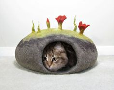 How to make Felted Cat Caves eBook DOWNLOADABLE TUTORIAL PDF by FeltingTutorials