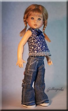 """SEWING PATTERN: Halter top and cargo jeans for 7.5"""" Riley Kish by Silkspike Dolls - Available in my Etsy shop now!"""