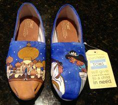 Disney inspired custom hand painted TOMS. Made by WhiskersandWine, $140.00.  Love!
