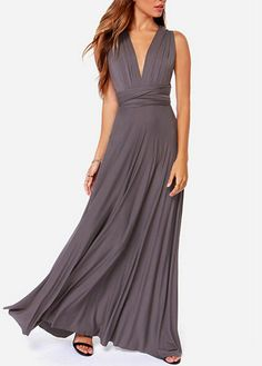 V Neck Sleeveless Grey High Waist Dress