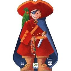 Djeco Pirate and Treasure 36 Piece Puzzle: The daring, young pirate stands in a tropical oasis, enjoying his treasure. A trusting steward, parrot and monke Puzzles For Kids, Illustrations, 5 Year Olds, Early Childhood, Pirates, Jigsaw Puzzles, Have Fun, Things To Come, Shapes