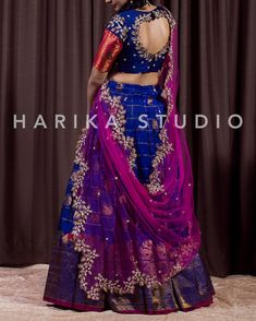 Gorgeous Half saree from Harika Studio. We can customise the colour and size as per your requirement. To Order WhatsApp us: 8179593237 Wedding Saree Blouse Designs, Pattu Saree Blouse Designs, Half Saree Designs, Saree Blouse Patterns, Fancy Blouse Designs, Lehenga Saree Design, Half Saree Lehenga, Lehnga Dress, Lehenga Designs