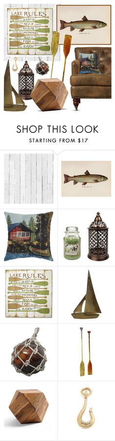 """""""Lake House Retreat"""" by lgb321 ❤ liked on Polyvore featuring interior, interiors, interior design, home, home decor, interior decorating, NLXL, Pier 1 Imports, Yankee Candle and Giles & Brother"""