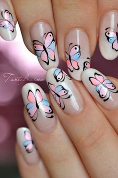 In this post, we have rounded up some examples of butterfly nail art designs for your inspiration. Nail Art Designs, Butterfly Nail Designs, Butterfly Nail Art, Flower Nail Art, Cute Nail Art, Cute Nails, Pretty Nails, Beautiful Nail Designs, Beautiful Nail Art