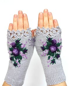 Gray Gloves With Purple Roses Knitted Fingerless Gloves Embroidered Roses Gloves & Mittens Gift Ideas For Her Winter Accessories Women's Jewelry Sets, Jewelry Model, Women Jewelry, Crochet Mittens, Crochet Gloves, Knitting Accessories, Winter Accessories, Rose Violette, Beanies