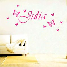 Personalised Name Wall Sticker Butterfly Art Decal Child Bedroom Transfer (CH62)