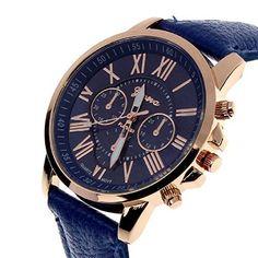 Vovotrade®Neue Damenmode Genf römischen Ziffern-Leder-analoge Quarz-Armbanduhr(Dunkelblau) - http://herrentaschenkaufen.de/vovotrade/vovotrade-neue-damenmode-genf-roemischen-leder