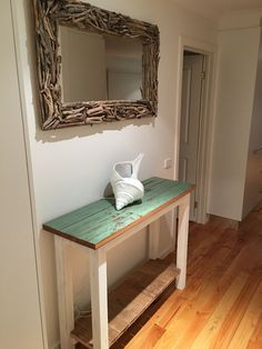Driftwood mirror and recycled timber hall stand