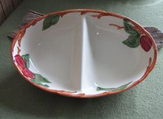 Franciscan Apple Pattern Divided Vegetable Dish by LazyYVintage. http://www.etsy.com/shop/LazyYVintage