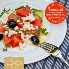 """WATERMELON SALAD  For full recipe: http://lenoxusa.tumblr.com/post/54186304102/rozannegold-watermelonsalad   #Lenox #RozanneGold #July4 #Recipes #Entertaining  Tin Can Alley® Four"""" Accent Plate"""