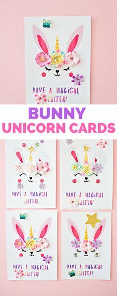 Bunny Unicorn Easter Cards #eastercrafts #kidscraft #kidsart #unicorncraft #unicorndiy