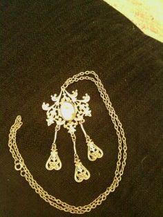 Unusual vintage 1960s silver Mother of Pearl pendant by LuluBrandy, £15.00