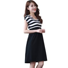 Modern Fashion Women Maternity Casual Dress Pregnant Cotton Clothes Stripe Dresses