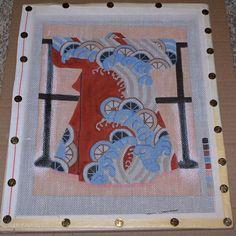 "Japanese Kimono Waves & Wheels Handpainted Needlepoint Canvas 8"" x 9 7/8"""
