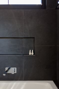 Our Slab Black Italian Porcelain tiles utilized on bathroom floors and walls in this newly built Brighton home. Our Slab range has a slate appearance and feel adding a natural soft texture to the space. Brighton Houses, Black Italians, Porcelain Tiles, Bathroom Flooring, Bathroom Inspiration, Slate, Natural Stones, Floors, Door Handles