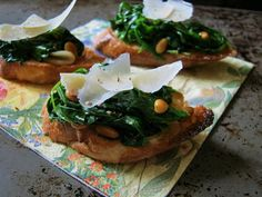 Arugula and Spinach Bruschetta with Pine Nuts
