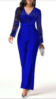 Lace Panel Belted Plunging Neck Jumpsuit Women Clothes For Cheap, Collections, Styles Perfectly Fit You, Never Miss It! Classy Jumpsuits For Weddings, Classy Dress, Classy Outfits, Wedding Jumpsuit, Latest African Fashion Dresses, Jumpsuit Outfit, African Dress, Fashion Outfits, Womens Fashion