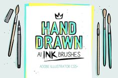 168 Illustrator ink brushes by Side Project on @creativemarket