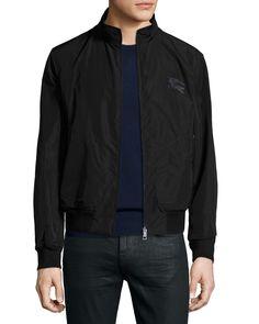 Zip-Front Blouson Jacket, Black, Size: MEDIUM - Burberry Brit
