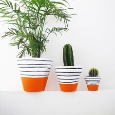 Hand Painted Plant Pot  Orange Stripe by ThisWayToTheCircus