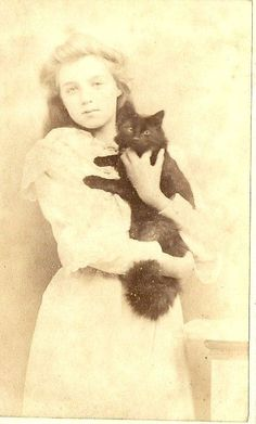 CDV Lady in White Holds Her Black Cat Beautiful Image by Barrett of Ramsgate Crazy Cat Lady, Crazy Cats, I Love Cats, Cool Cats, Beautiful Cats, Beautiful Images, Old Pictures, Old Photos, Vintage Illustration