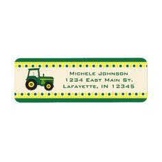 Tractor Return Address Baby Boy Shower Label