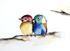 #Blue and #yellow #Bird. #Original #watercolor #Bird. by EmelArt, $25.00