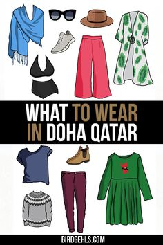 Heading to Doha, Qatar and worried about what you should pack? Here's a helpful guide for what to wear in for mostly women - rule of thumb is to keep your shoulders and knees covered and avoid tight clothing. / Packing Tips Doha/ Travel Articles, Travel Advice, Travel Guides, Travel Hacks, Travel Essentials, Packing List For Travel, Packing Tips, Travelling Tips, Doha