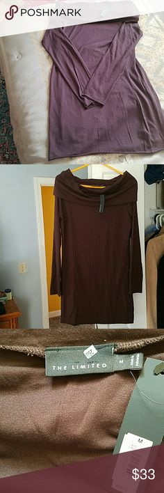 """The Limited Tunic NWT!! The Limited Stunning Chocolate Brown Tunic. Can be worn as a cowl style, or slightly off the shoulders as shown in pics 4. Size Medium. 53% Cotton, 43% Modal, 4% Spandex. This Top is soooo soft!! From right under neck...top of shoulder, measures approx 31"""". Armpit to Armpit measures approx 17"""". Top of shoulder to end of sleeve measures just under 26"""". Measurements taken laying flat. Does have some nice stretch to it. Gorgeous for this time of year!! The Limited Tops"""