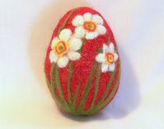 Large Needle Felted Easter Egg Daffodils Narcissi by syodercrafts