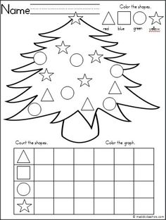 This is a Christmas tree themed activity for your Kindergarten students to practice shapes and graphing. It is a wonderful math activity for any winter month. FREE by Prek Summergrove Preschool Christmas, Kindergarten Classroom, Kindergarten Activities, Classroom Activities, Preschool Activities, Christmas Worksheets Kindergarten, Graphing Activities, Shape Activities, Theme Noel