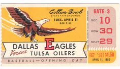 Front view of the 1950 Dallas Eagles ticket.