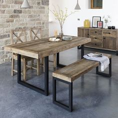 Standford Industrial Reclaimed Wood Dining Bench - - Modish Living Industrial Look