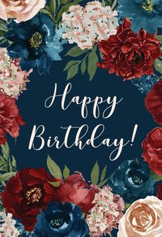 Purple Flowers - Happy Birthday Card #greetingcards #printable #diy #birthday Flower Birthday Cards, Happy Birthday Wishes Cards, Happy Birthdays, Diy Birthday, Birthday Ideas, Birthday Card Template, Printable Cards, Love Is Sweet, Birthday Quotes