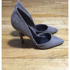 Grey d'Orsay Pumps Grey faux suede d'Orsay pumps used ONCE for work. I work indoors so these have never touched pavement. Pointy toe, asymmetrical silhouette. Single sole, stiletto heel. Original price: $36. Comes with box /// find me on Ⓜ️ercari where everything is cheaper! Charlotte Russe Shoes Heels